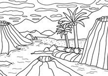 Mountains, Volcanoes And Palm Trees By The Ocean. Coloring Book For Children And Adults. Antistress Coloring Page. Vector Outline Illustration.