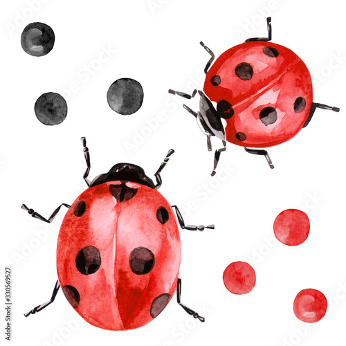 Watercolor illustration of ladybug in red color with black ink spots Poster Mural XXL