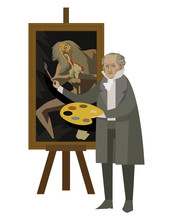 Great Spanish Painter Painting A Scene Of Saturn Devouring His Son