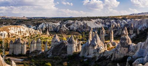 Picturesque panoramic landscape view on Goreme national park. Goreme national park - concept of Cappadocia as touristic destination. Turkey, Asia.