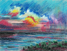 Illustration Pencil Drawing And Pastel Landscape. Sea, Ocean And Clouds At Sunset Or Dawn.