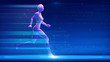 Sportswoman fit woman running fast with futuristic hologram effect on blue abstract background. with copy space. tracker run, health, fitness, workout, lifestyle, speed 3d rendering illustration