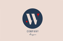 Red Dot W Letter Alphabet Logo Icon Design With Blue Circle For Company And Business