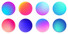 Circle Holographic Gradients Set, Spherical Buttons.