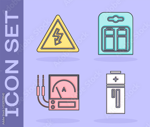 Set Battery, High voltage sign, Ampere meter, multimeter, voltmeter and Battery in pack icon Canvas Print