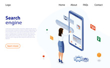 Woman Uses A Smartphone To Search For Information On The Internet. Search Engine Optimization For Business. Isometric Vector Concept Web Analytics, SEO, Website Optimization Marketing. SEO Concept.