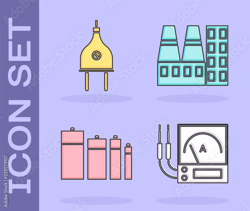 Set Ampere meter, multimeter, voltmeter, Electric plug, Battery and Power station plant and factory icon Canvas Print