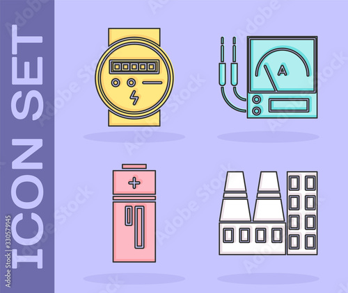 Photo Set Power station plant and factory, Electric meter, Battery and Ampere meter, multimeter, voltmeter icon