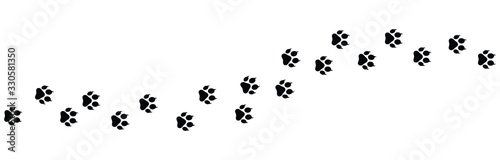 Paw vector foot trail print on white background Fototapete