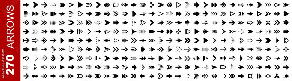 Fototapeta Set 270 arrow icon. Collection different arrows sign. Black vector arrows icons – stock vector