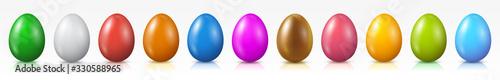 Fényképezés Easter eggs set, collection of colored eggs, Easter symbol - vector