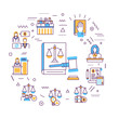 Law and justice web banner. Type of court. Judiciary. Court staff. Infographics with linear icons on white background. Creative idea concept. Isolated outline color illustration