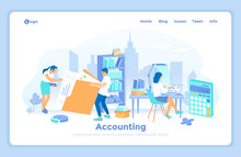 Accounting, Financial Analysis, Tax Payment, Analytics, Data Capture, Statistics, Research. Business Team Works With Documents In Office. Landing Web Page Design Template Decorated With People.