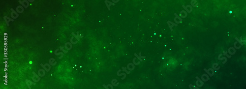 Toxic green horizontal background with chaotic flying particles.