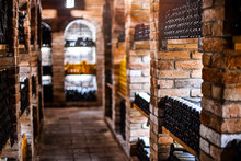 Wine Cellar With Wine Bottles .with Space For Text.