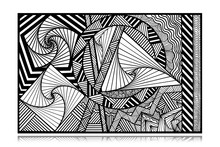 Abstract Black White Rectangle Pattern With Lines, Spirals And Geometric Elements