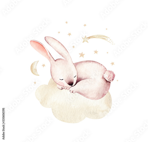 Watercolor Happy Easter baby bunnies design with spring blossom flower. Rabbit bunny kids illustration isolated.  cartoon forest hare animal bunny holiday funny decoration. Nursery poster design.