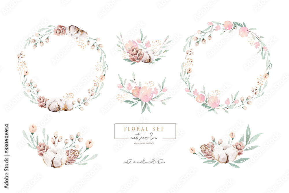 Fototapeta Watercolor floral wreath and bouquet frame illustration with cotton balls peach color, white, pink, vivid flowers, green leaves, for wedding stationary, greetings, wallpapers wrapping, DIY.