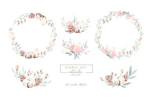 Watercolor Floral Wreath And B...