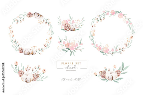 Obraz Watercolor floral wreath and bouquet frame illustration with cotton balls peach color, white, pink, vivid flowers, green leaves, for wedding stationary, greetings, wallpapers wrapping, DIY. - fototapety do salonu
