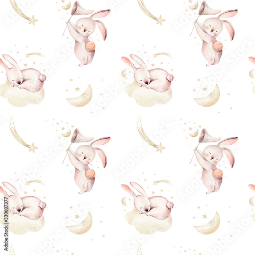 Fotografia Cute baby rabbit animal seamless dream pattern comet with gold starsin night sky, forest bunny illustration for children clothing