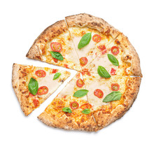 Delicious Pizza Margherita On White Background