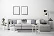 Leinwandbild Motiv Stylish living room interior with comfortable sofa