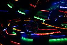 Crystal Sphere Light Painting. Colorful Energy Trails