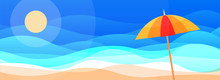 Surreal Sun Vector Sandy Beach Scene With An Umbrella And Sea View In Blue Sky