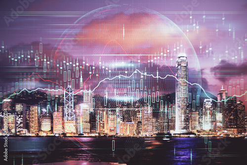 Photo Double exposure of forex chart drawings over cityscape background