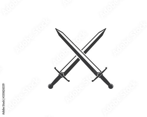 Valokuvatapetti sword logo icon vector illustration design