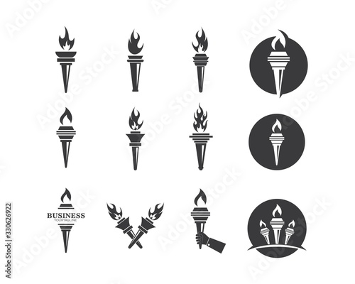 Fotografiet burning torch illustration vector