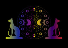 Triple Moon And Cats, Pagan Wiccan Goddess Symbol, Sun System, Moon Phases, Orbits Of Planets, Energy Circle. Colorful Sacred Geometry Of The Wheel Of The Year, Vector Isolated On Black Background