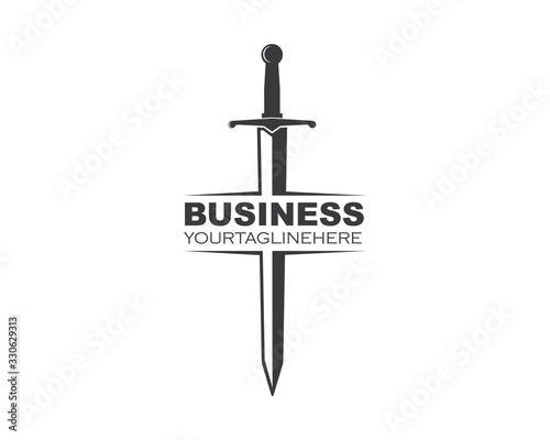 sword logo icon vector illustration design Wallpaper Mural