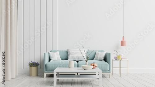 Fototapeta Bright and cozy modern living room interior have sofa and lamp with white wall background. obraz na płótnie