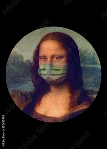 The monna lisa wears the respirator for fear of coronavirus Canvas Print