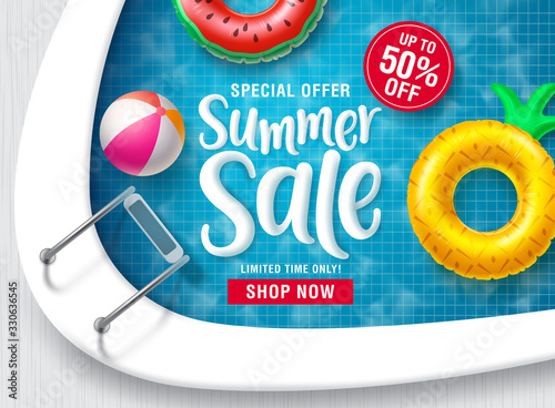 Fototapeta Summer sale vector banner design. Summer discount promotion text with floating beach elements in swimming pool background for seasonal promotion purposes. Vector illustration. obraz