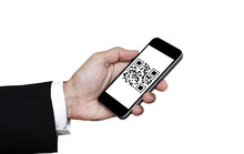 QR Code Scanning Payment And Verification. Hand Using Mobile Smart Phone Scan QR Code, Isolated On White Background
