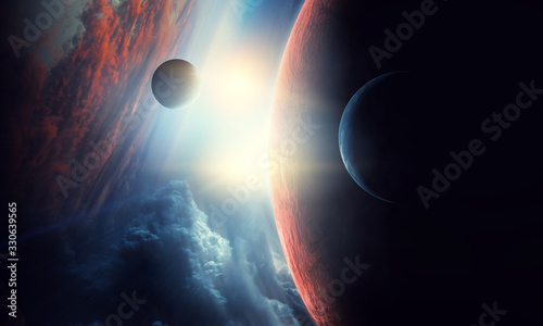 Obraz Deep space beauty. Planet orbit. - fototapety do salonu