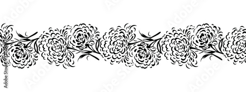 Seamless abstract black and white rose flower border
