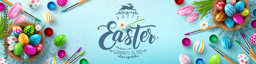 Fototapeta Easter poster and banner template with Easter eggs in the nest on light green background.Greetings and presents for Easter Day in flat lay styling.Promotion and shopping template for Easter obraz