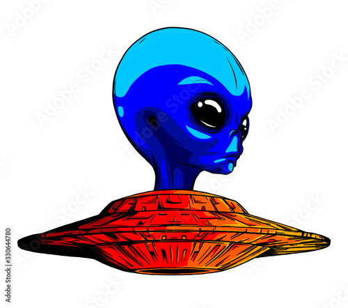 Alien ufo invasion vector illustration design art Poster Mural XXL