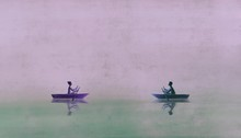 Man And Woman On Boats , Paint...