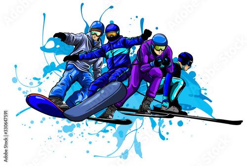 Fotografía Vector set of skiers