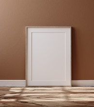 Wooden Frame With Poster Mockup Standing On Floor, 3d Render