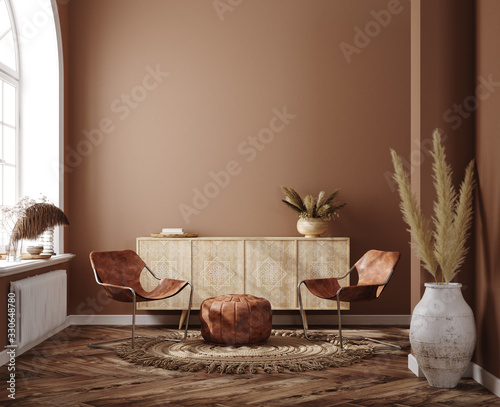 Fototapeta Home interior with ethnic boho decoration, living room in brown warm color, 3d render obraz