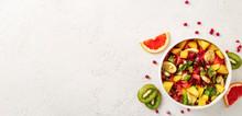Fruit Salad Bowl On Light Surf...