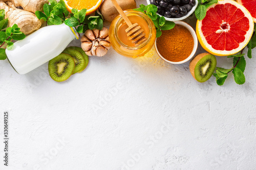Set vegetables and fruits to boost immune system. Healthy products for Immunity boosting top view. Copy space