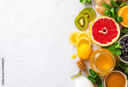 Slika na platnu Healthy products for Immunity boosting on white background with copy space top view