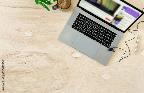 Online education or training concept top view Wallpaper Mural